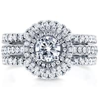 Annello by Kobelli 14k White Gold 1 1/8ct TDW Round Diamond Classic Halo 3-Piece Bridal Rings Set