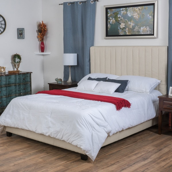Christopher Knight Home Leon Upholstered Channel Fabric Bed Set