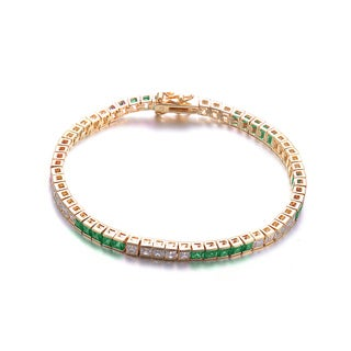 Collette Z C.Z. Sterling Silver Gold Plated Emerald 5 x5 Bracelet