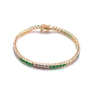 Collette Z C.Z. Sterling Silver Gold Plated Emerald 5 x5 Bracelet - Green