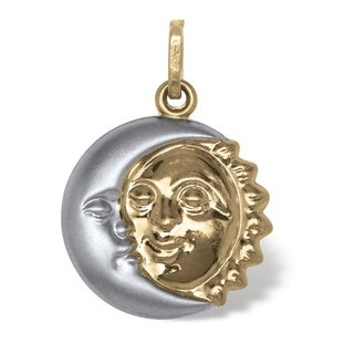14k Two-tone Gold Sun and Moon Pendant Tailored