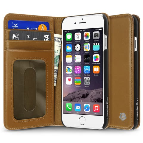 CobblePro Brown Genuine Leather Case with Stand/ Card Slot/ Photo Display for Apple iPhone 6/ 6s