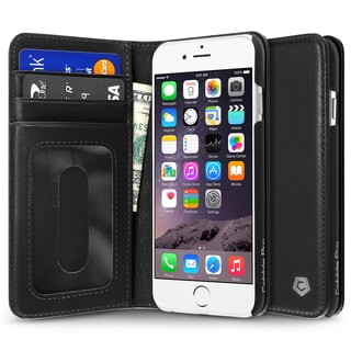 CobblePro Black Genuine Leather Case with Stand/ Card Slot/ Photo Display for Apple iPhone 6/ 6s