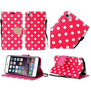 Insten Red/White Polka Dots Leather Case Cover Lanyard with Stand/Diamond For Apple iPhone 6 Plus/6s Plus