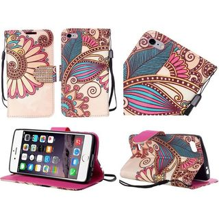 Insten Yellow Antique Flower Leather Case Cover Lanyard with Stand/Diamond For Apple iPhone 6 Plus/6s Plus