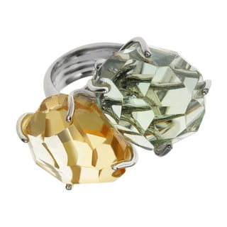 Sterling Silver 30.26ct Citrine and Prasiolite Two Stone Ring