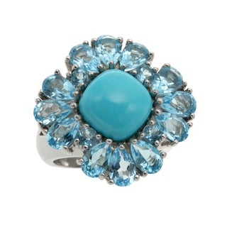 Sterling Silver 9.194ct Sleeping Beauty Turquoise and Swiss Blue Topaz Ring