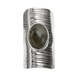 Sterling Silver 5.10ct 14x10mm Oval Labradorite Sheild Ring