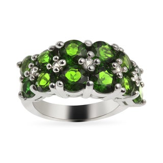 Sterling Silver 3.84ct 3.84ct Chrome Diopside and White Topaz Wide Ring