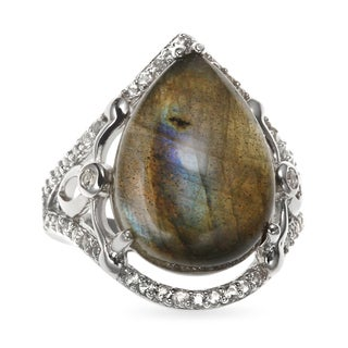 Sterling Silver 12.39ct 18x13mm Pear Shaped Labradorite and White Topaz Ring