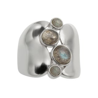 Sterling Silver 2.08ct Round Labradorite Wide Band Ring
