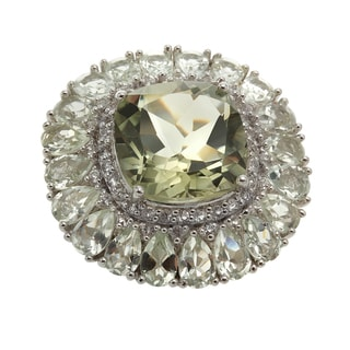 Sterling Silver 18.96ct Prasiolite and White Topaz Flower Ring