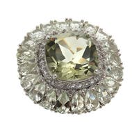 Sterling Silver 18.96ct Prasiolite and White Topaz Flower Ring - N/A