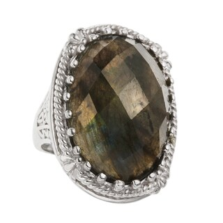 Sterling Silver 16.63ct 25x17mm Oval Labradorite Scrollwork Ring - N/A