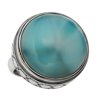 Sterling Silver 15.87ct 18mm Round Larimar Polished and Textured Ring