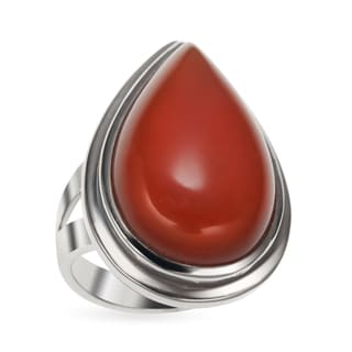 Sterling Silver Carnelian Pear Shaped Ring
