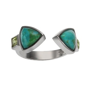 Sterling Silver 2.426ct Turquoise and Peridot Bypass Ring