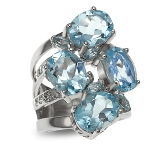 Sterling Silver 9.01ct Multi Shaped Sky Blue Topaz Cluster Ring