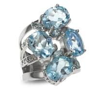 Sterling Silver 9.01ct Multi Shaped Sky Blue Topaz Cluster Ring - N/A