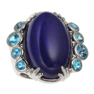 Sterling Silver 14.142ct 22x14mm Lapis and Swiss Blue Topaz North South Ring