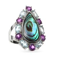 Sterling Silver 4.98ct 18x9mm Oval Abalone, Amethyst and Blue Topaz Ring