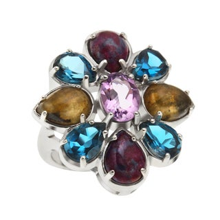 Sterling Silver 7.6ct Brazilian Amethyst and Multi Flower Ring