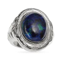 Sterling Silver 8.79ct 16x12mm Oval Azurite Malachite Textured Ring