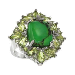 Sterling Silver 25.09ct Green Mohave Turquoise and Peridot Ring