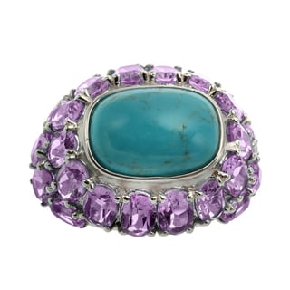 Sterling Silver 10.28ct 14x10mm Cushion Shaped Turquoise and Amethyst Dome Ring