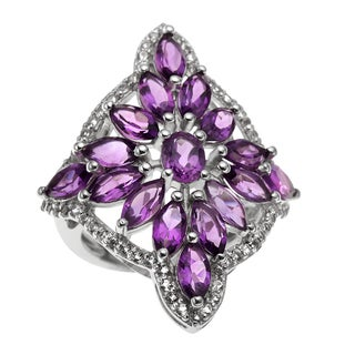 Sterling Silver 4.01ct Amethyst and White Topaz Snowflake Ring