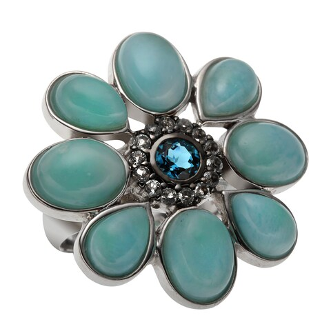 Sterling Silver 8.402ct Larimar and Multi Blue Topaz Flower Halo Ring