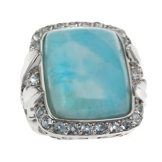 Sterling Silver 14.6478ct 19x15mm Larimar and Sky Blue Topaz Leaf Ring