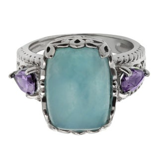 Sterling Silver 5.74ct 14x10mm Cushion Shaped Milky Aquamarine and Amethyst Ring