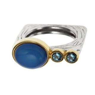 Sterling Silver 2.402ct Two Tone Blue Chalcedony and Swiss Blue Topaz Textured Square Stack Ring