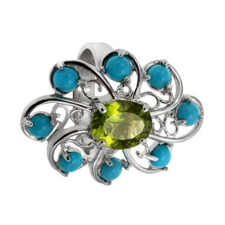 Sterling Silver 4.5ct Oval Peridot and Sleeping Beauty Turquoise Ring
