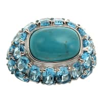 Sterling Silver 12.14ct 14x10mm Cushion Shaped Turquoise and Swiss Blue Topaz Dome Ring