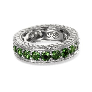 Sterling Silver 2.94ct Chrome Diopside and White Zircon Reversible Eternity Band Ring