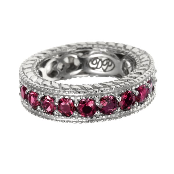 Garnet Silver Eternity Ring
