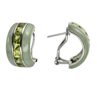 Sterling Silver Jade & Peridot Hoop Earrings w/Omega Backs