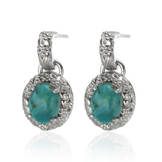 Sterling Silver 1-inch 10x8mm Oval Turquoise Drop Earrings