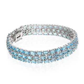 Sterling Silver 26ct Swiss Blue Topaz Three Row Bracelet