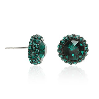 Sterling Silver Green Crystal Halo Stud Earrings