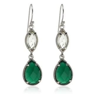 Sterling Silver 1.75-inch Green Agate and Prasiolite Drop Earrings