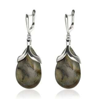 Sterling Silver 2-inch 27x17mm Labradorite Teardrop Earrings