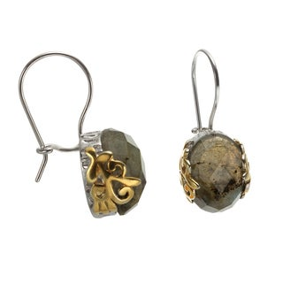 Sterling Silver 14k Yellow Gold Plated Scroll Accents 1-inch 14x10mm Oval Labradorite Drop Earrings