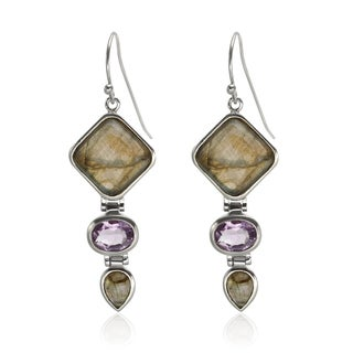 Sterling Silver 2-inch Labradorite and Amethyst Drop Earrings