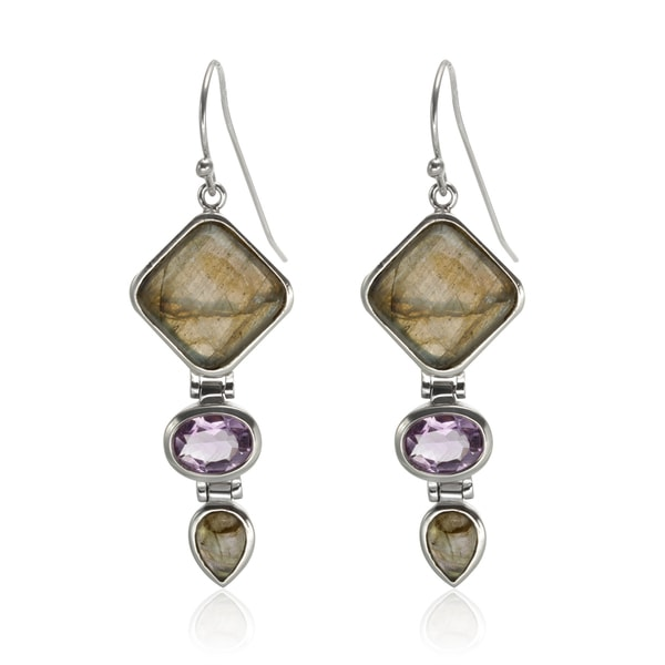 Sterling Silver 2 Inch Labradorite And Amethyst Drop Earrings