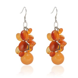 Sterling Silver 2-inch Carnelian Multi Shaped Gemstone Cluster Drop Earrings