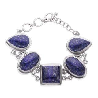 Sterling Silver Multi Shape Lapis Lazuli Toggle Bracelet