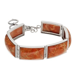 Sterling Silver 9.5-inch Rectangular Shaped Apple Coral Toggle Bracelet